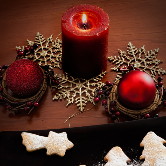 """Red candle and Christmas Ornament"" stock image"