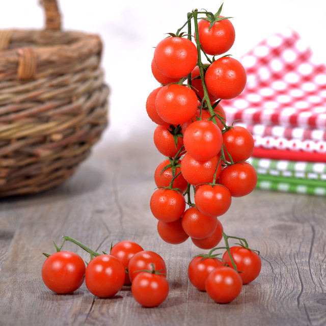 """""""bunch of tomatoes with a wicker basket"""" stock image"""