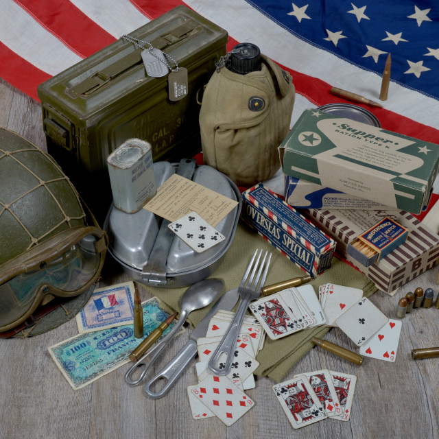 """""""equipment of the American soldier landing in Normandy"""" stock image"""