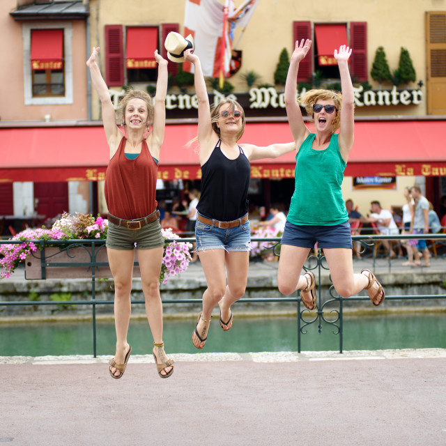 """three young women make tourism"" stock image"