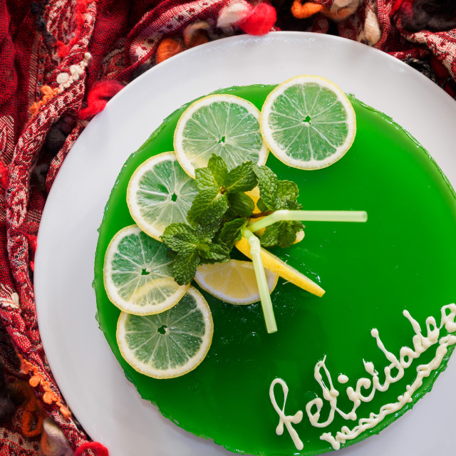 """""""Gelatin mojito cake with lime and peppermint"""" stock image"""