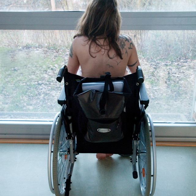 """""""Young Woman In Wheelchair"""" stock image"""
