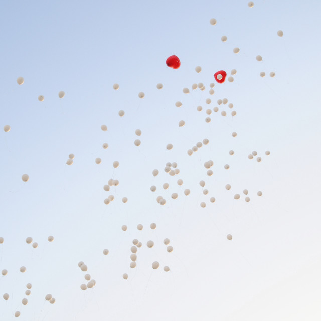 """Background balloons in the sky"" stock image"