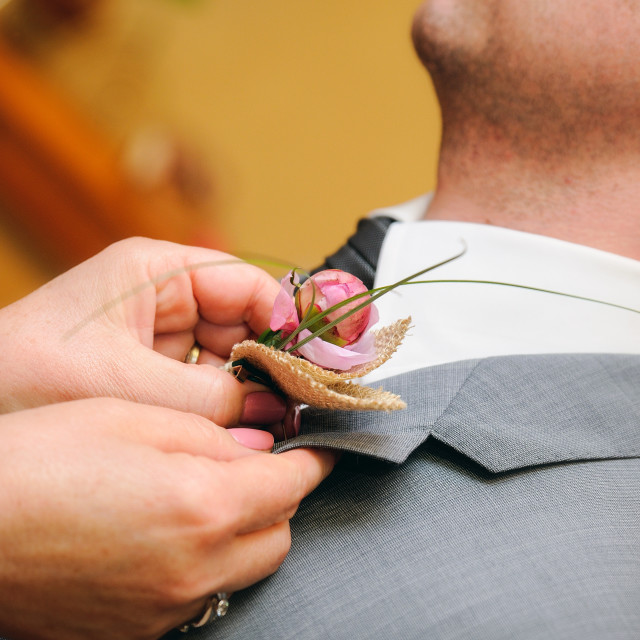 """Mother putting a flower in the buttonhole of the groom dress"" stock image"