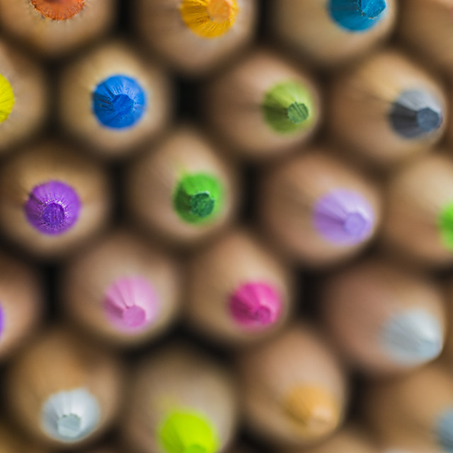 """Colored Pencils Macro Glowing"" stock image"