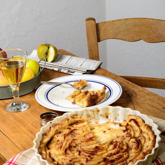 """apple pie on a table with apples"" stock image"