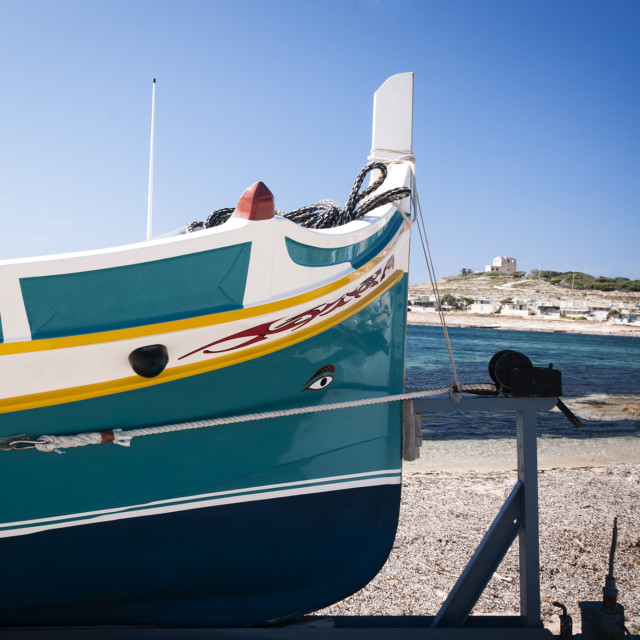 """Fishing Boat on a trailer"" stock image"
