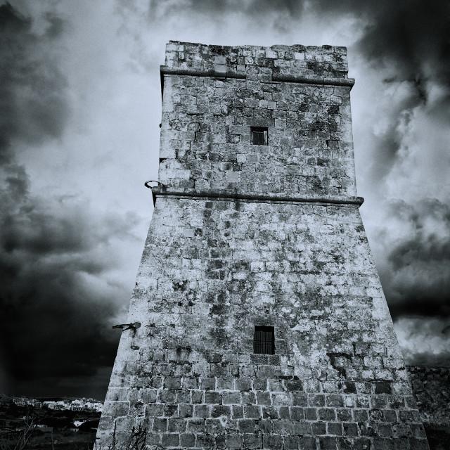 """Coastal Tower - Black and white"" stock image"