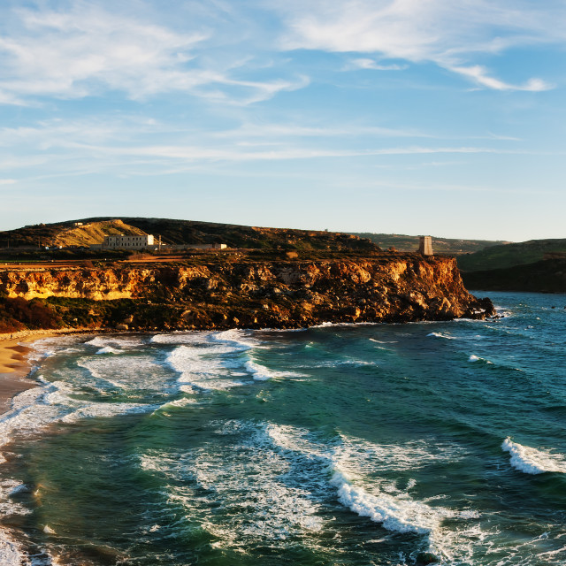 """Panorama: Golden Sands Bay Malta"" stock image"
