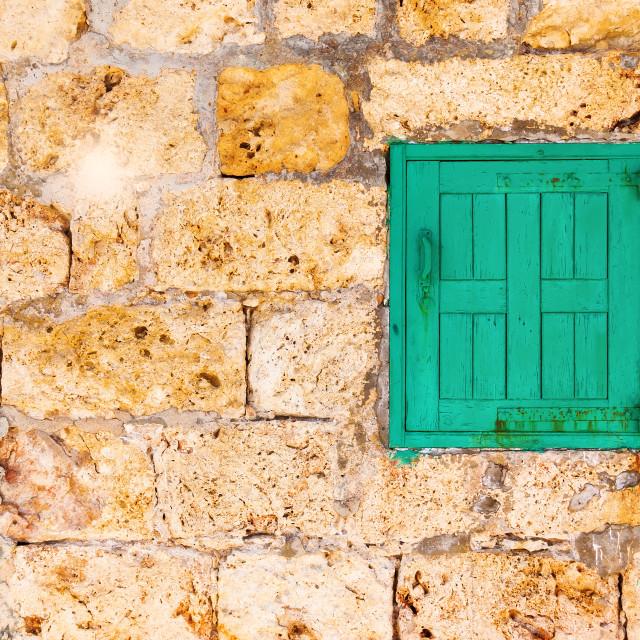 """Green Shuttered Window"" stock image"
