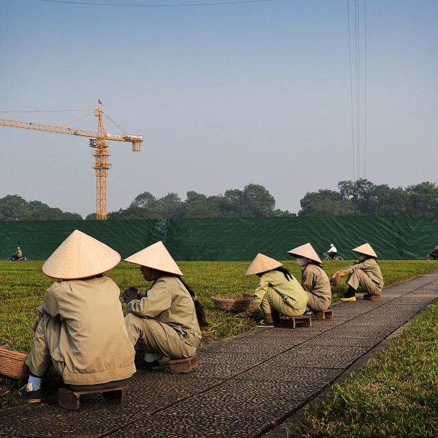 """Women works in Ho Chi Minh Mausoleum"" stock image"