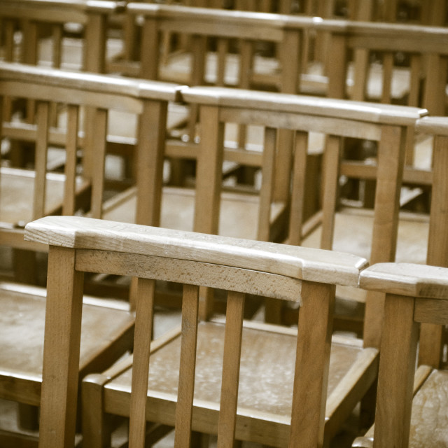 """Chairs In Church at Bayeux Cathedral"" stock image"