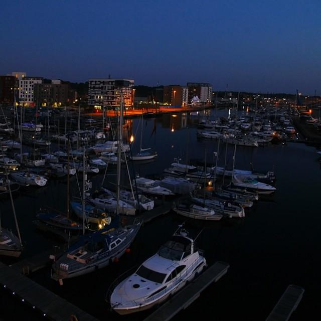 """Ipswich Marina at Night."" stock image"
