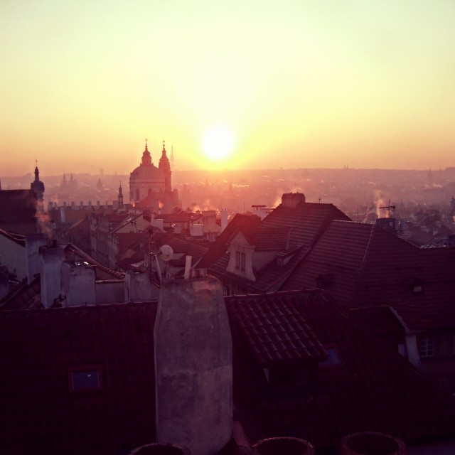 """Winter sunrise over Prague (1)"" stock image"