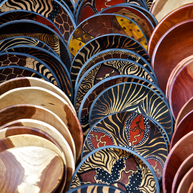 """""""Painted Wooden Bowls"""" stock image"""