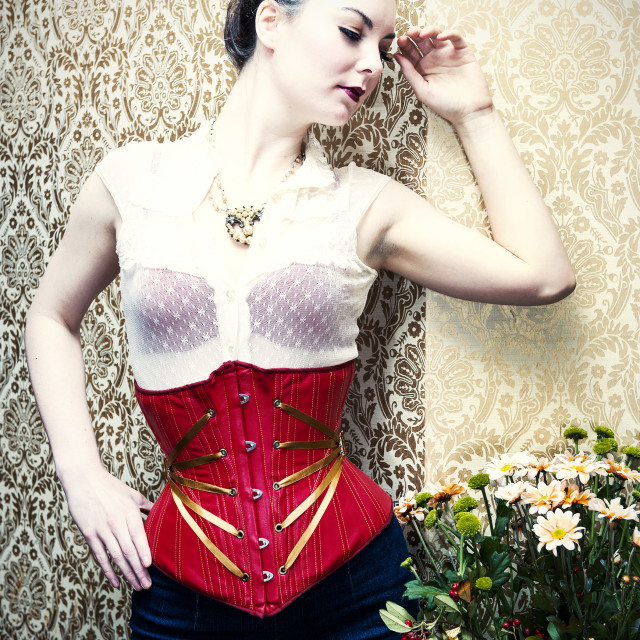 """Red corset with gold ribbon"" stock image"