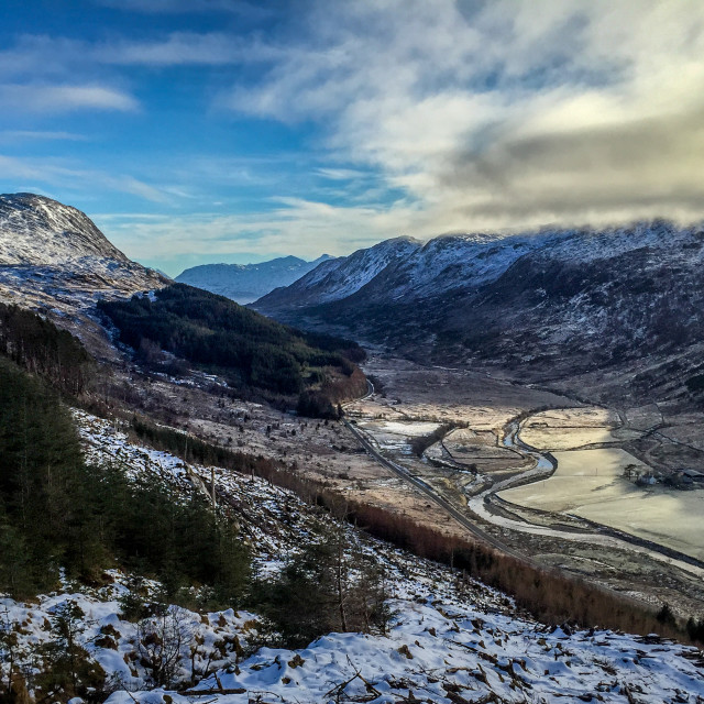 """Glen Tarbert, Sunart in Winter"" stock image"