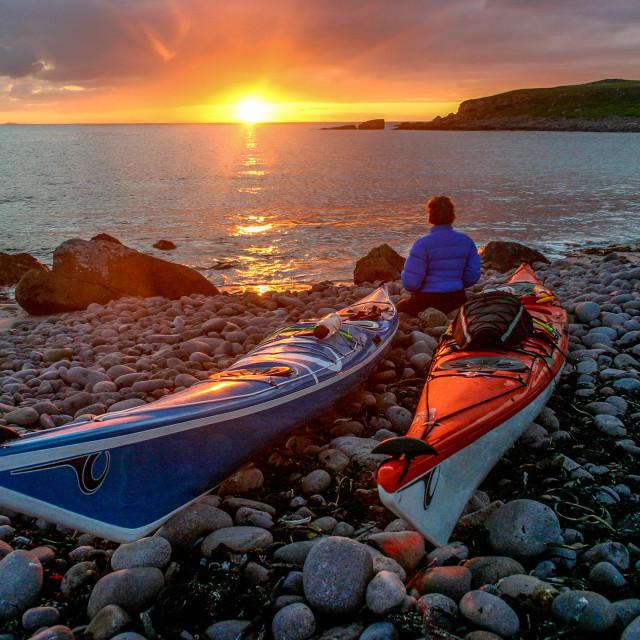 """Sea kayak end of day"" stock image"