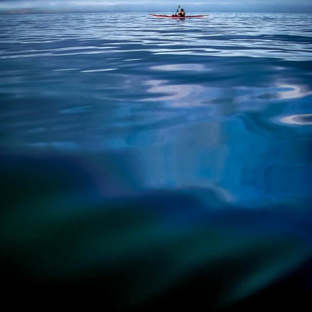 """Sea kayak deep water - 1"" stock image"