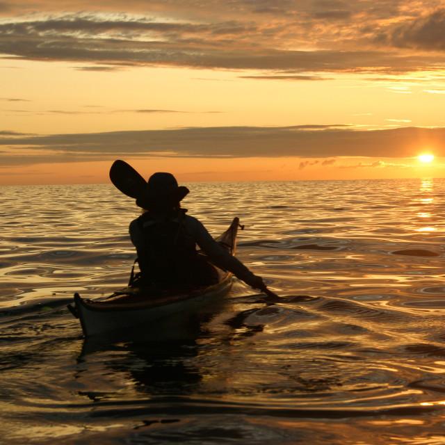"""Sunset sea kayak"" stock image"