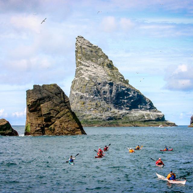 """Sea kayak St Kilda, Stac an Armin"" stock image"