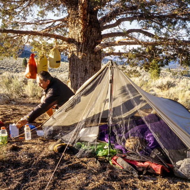 """Wild Camping on Pacific Crest Trail"" stock image"