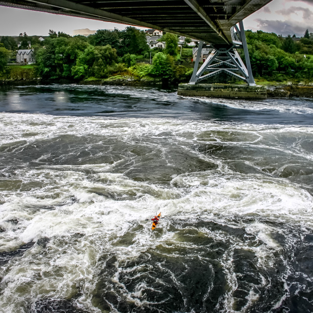 """""""Water under the bridge and kayaker"""" stock image"""