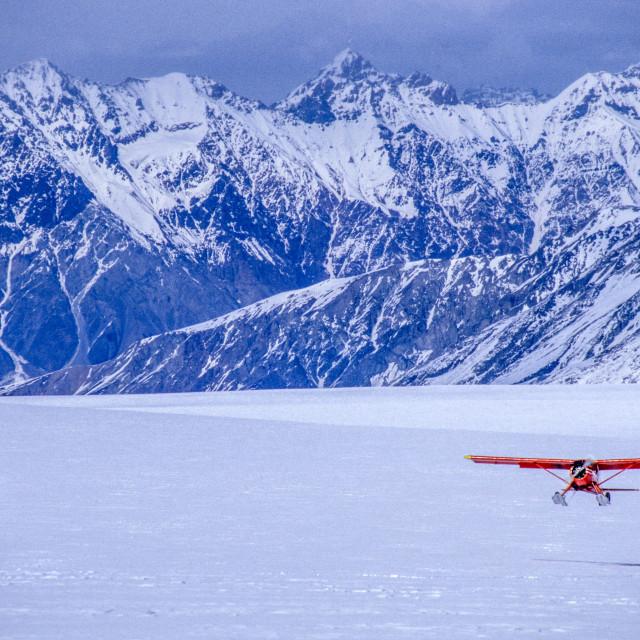 """Ski plane landing Alaska"" stock image"