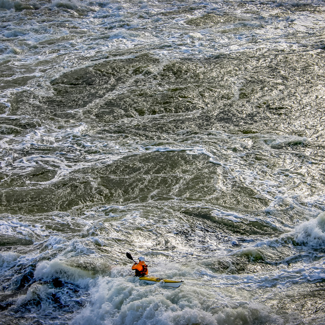 """Feeling small in a kayak"" stock image"