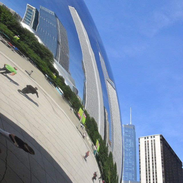"""Chicago in Cloud Gate"" stock image"