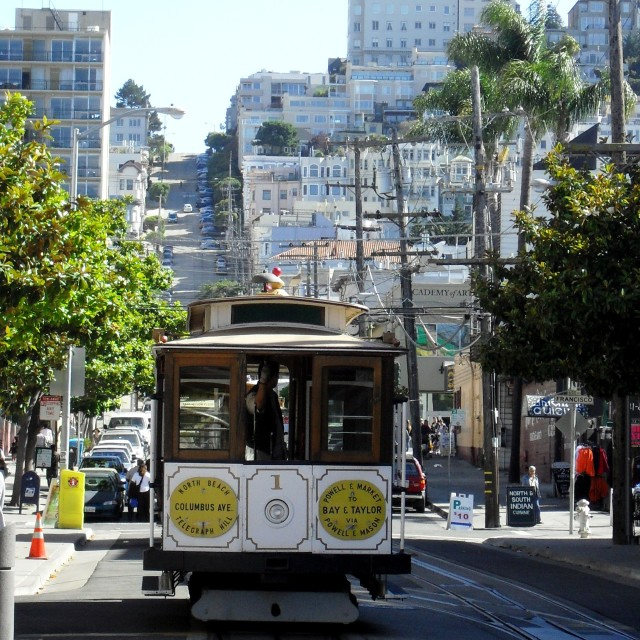 """San Francisco cable car"" stock image"