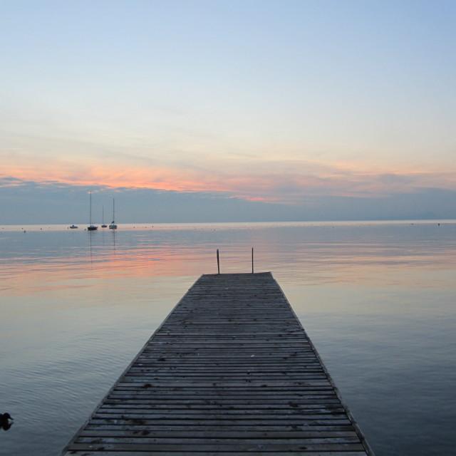 """""""Pier at dusk, Lake Garda"""" stock image"""