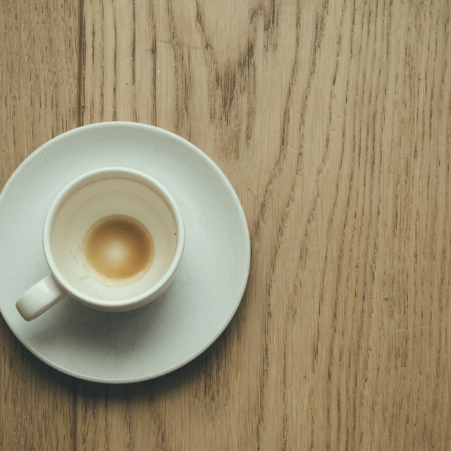 """""""Empty cup of coffee on wooden background"""" stock image"""