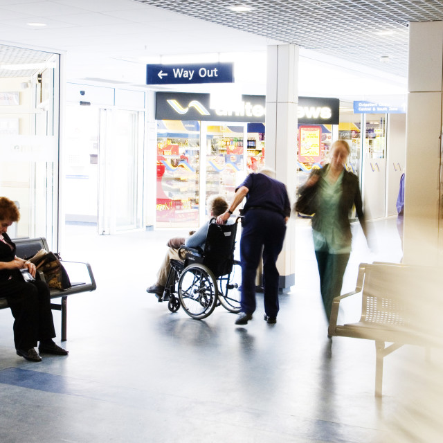 """Outpatients in a busy UK NHS hospital"" stock image"