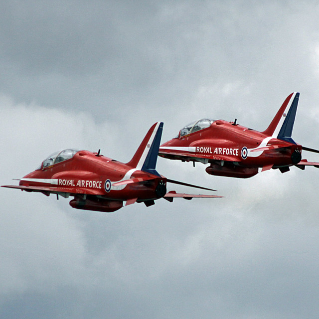 """""""Red Arrows Duet"""" stock image"""