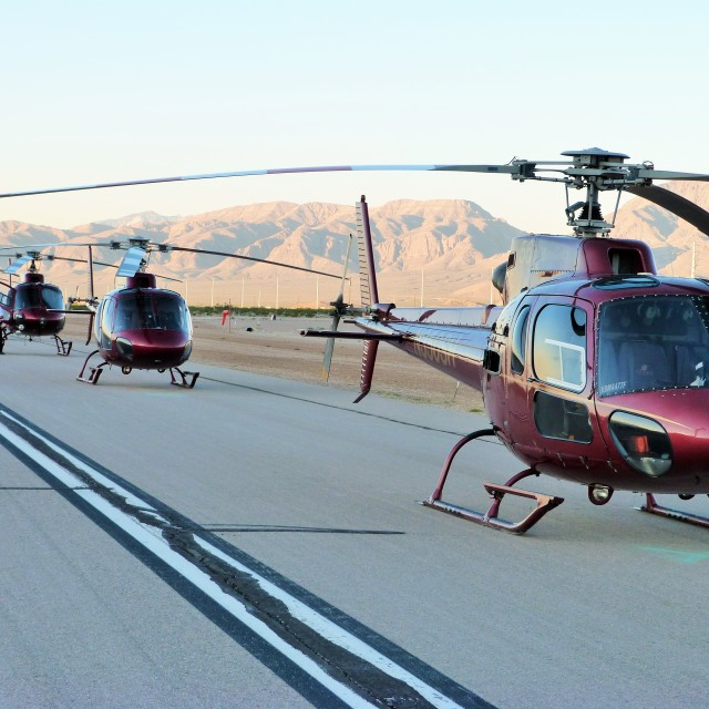 """""""Helicopters In The Desert"""" stock image"""
