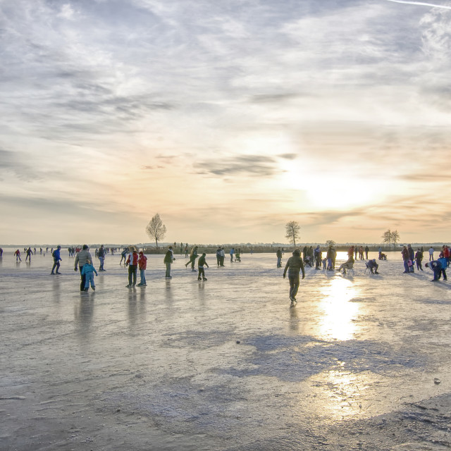 """Sunset on the ice"" stock image"