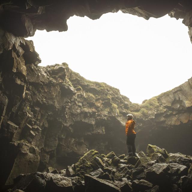 """""""Lava tube, Iceland"""" stock image"""