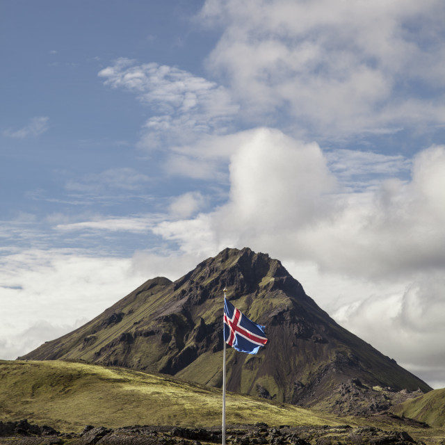 """Icelandic flag and mountain"" stock image"