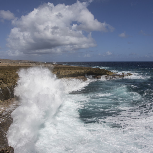 """Waves Crashing, Curacao"" stock image"