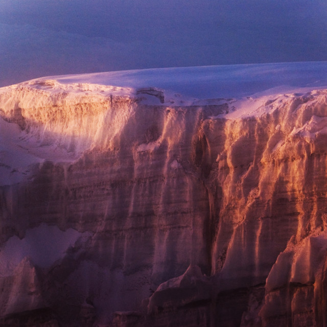 """""""Glacier in glowing morning light"""" stock image"""