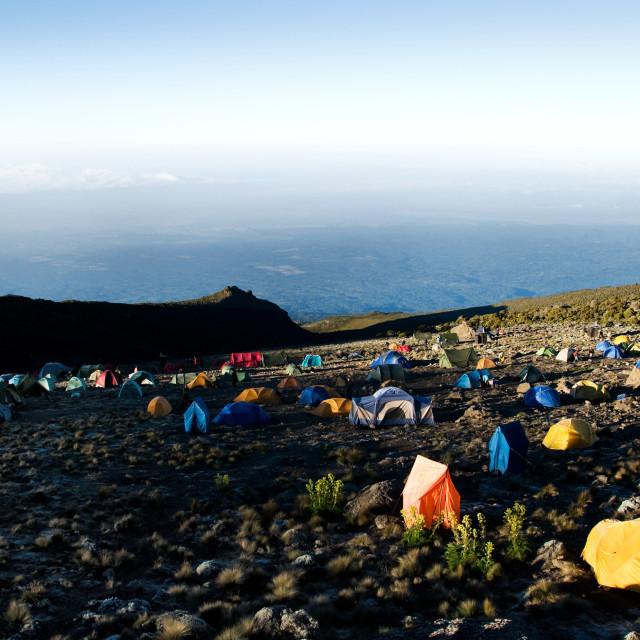 """Karanga Camp - fourth day of trek to Uhuru Peak"" stock image"