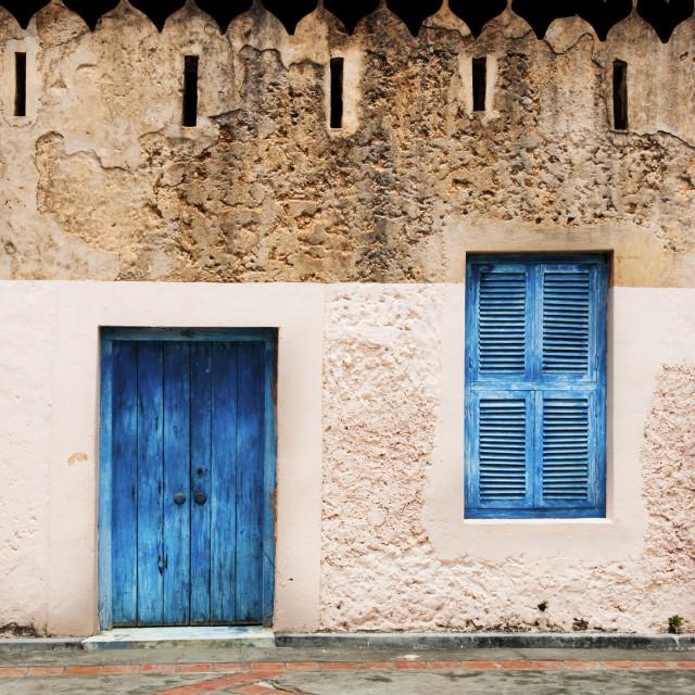 """""""Blue Door and window"""" stock image"""