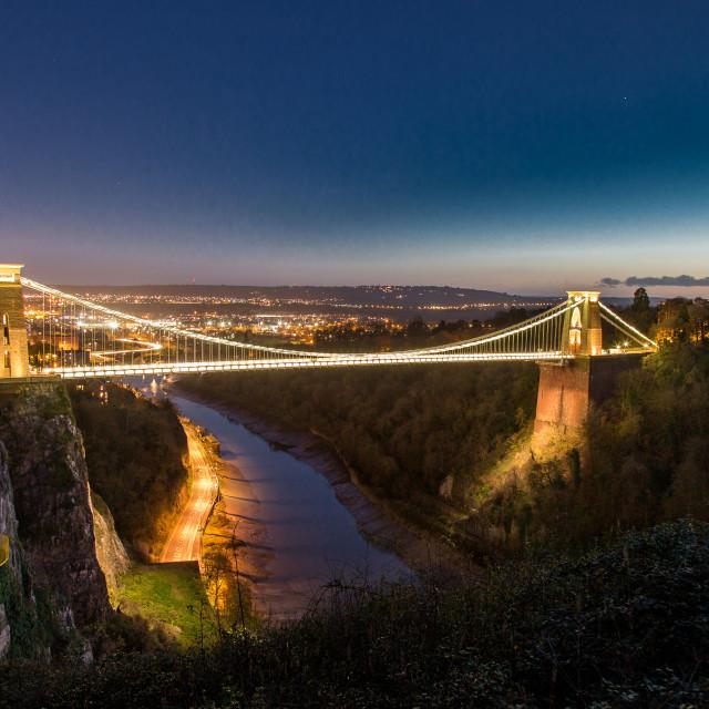 """Clifton Suspension Bridge at Dusk"" stock image"