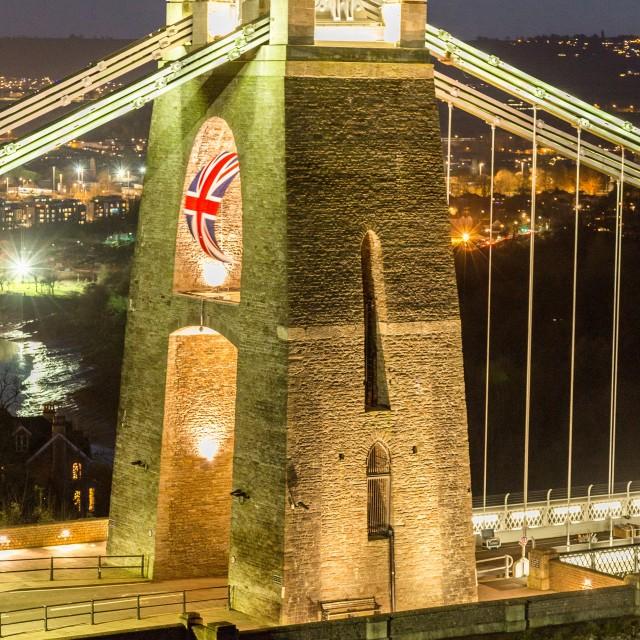 """West Tower Clifton Suspension Bridge"" stock image"