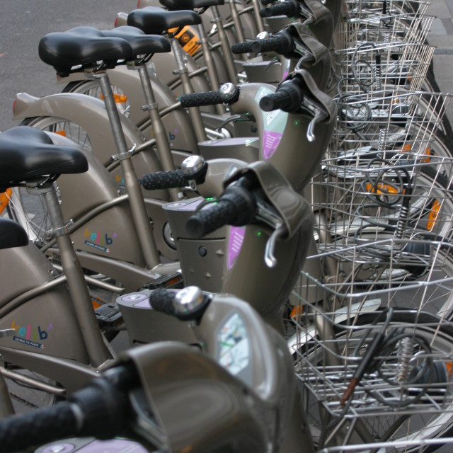 """""""Velib saddles in a row - early morning, Paris"""" stock image"""