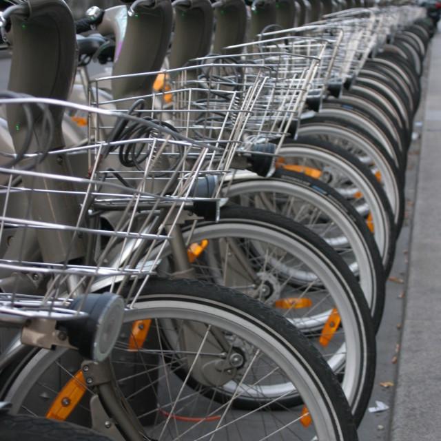 """Velib bikes - early morning"" stock image"