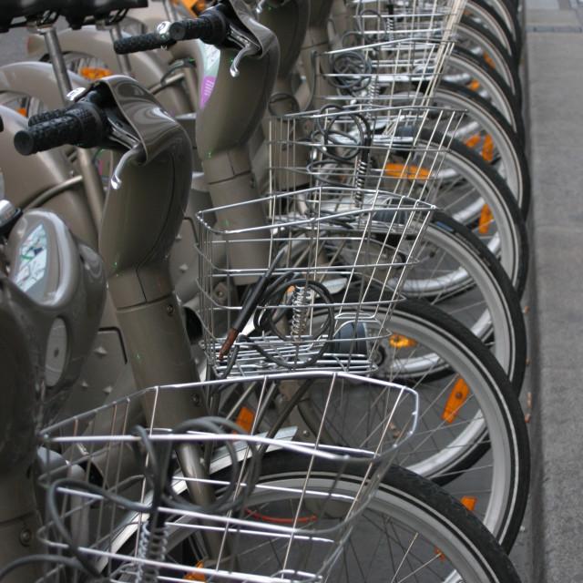 """Early morning Velib bikes"" stock image"