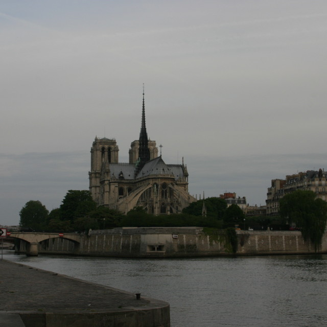 """""""Sacre Coeur from the Seine"""" stock image"""