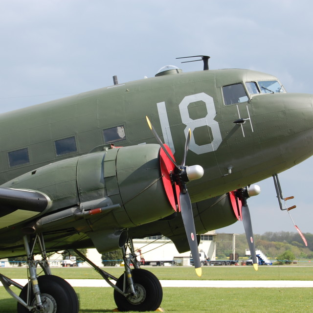 """Close-up, genuine 'Band of Brothers' C-47A Skytrain"" stock image"